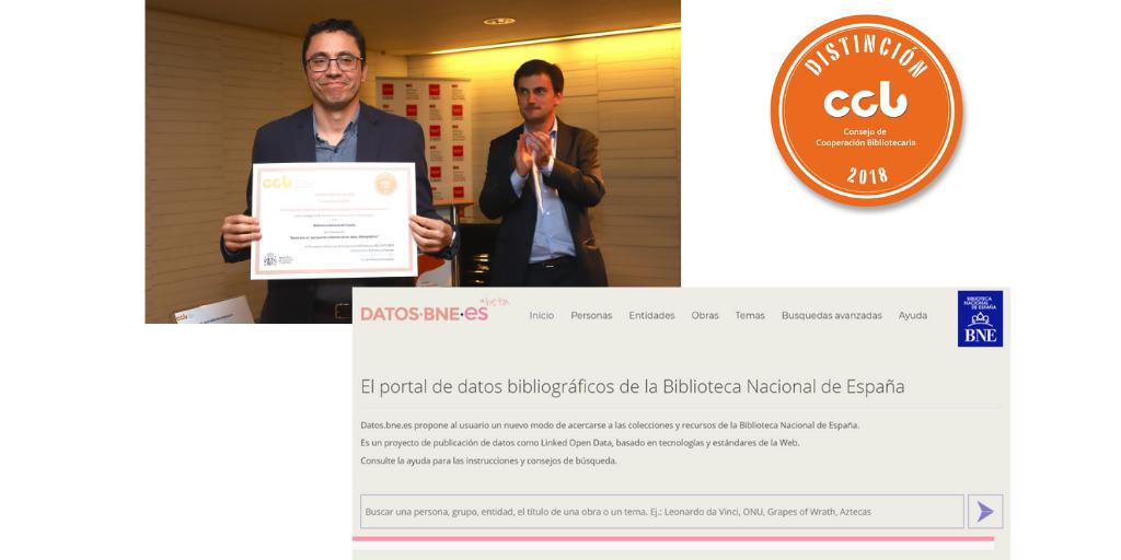 Ricardo Santos Muñoz, Jefe Departamento de Proceso Técnico de la Biblioteca Nacional de España, recoge el Sello CCB 2018 entregado por José Luis Bueren, presidente de la Comisión Técnica de Cooperación de Bibliotecas Nacionales y Regionales