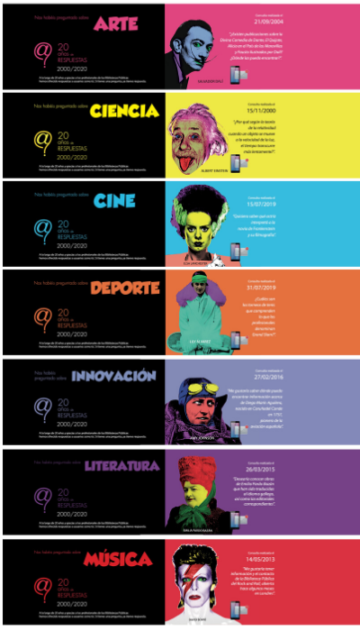 Cartel conmemorativo del 20 aniversario Pregunte: las bibliotecas responden